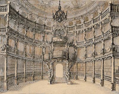 Das frühere barocke Hoftheater am Salvatorplatz in München - hier fand die Uraufführung von Mozarts Oper Idomeneo re di creta, die er in München vollendete, statt